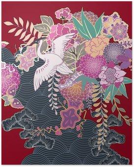Plakát Vintage kimono květinovým motivem