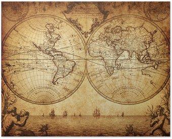 Plakát Vintage mapa světa 1733