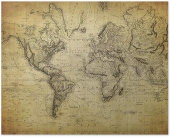 Plakát Vintage mapa světa 1814 ..