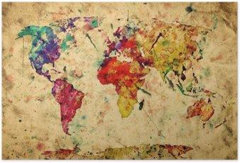 Plakát Vintage mapa světa. Barevný barva, akvarel na papíře grunge