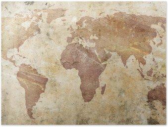 Plakát Vintage mapa světa