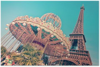Plakát Vintage Merry-go-round a Eiffelovy věže, Paříž Francie