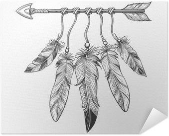 Plakát Vintage narození ručně malovaná šíp peřím. Tribal Boho indická dreamcatche talisman na bílém pozadí. vektorové ilustrace