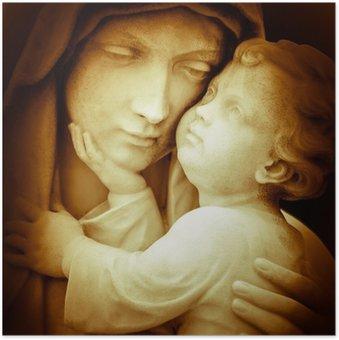 Plakát Vintage obraz Panny Marie nosný Ježíškovi