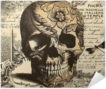 Plakát Vintage Skull pozadí