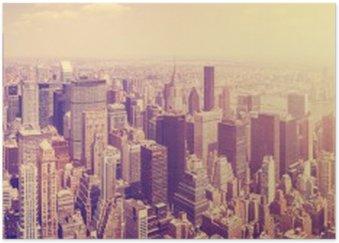 Plakát Vintage tónovaný Manhattan panorama při západu slunce, NYC, USA.