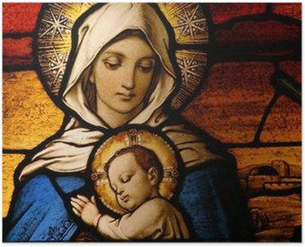 Plakát Vitráže znázorňující Pannu Marii děťátkem