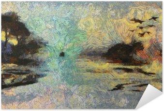 Plakát Vivid Vířící Painting of Islands západu slunce nebo svítání
