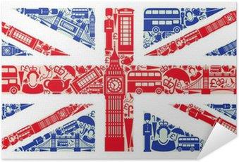 Plakát Vlajka Anglie od symbolů Spojeného království a Londýně