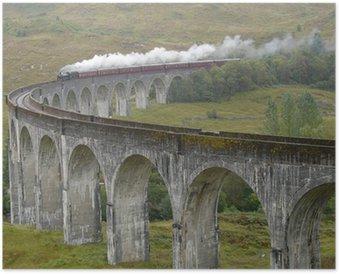 Plakát Vlak na Glenfinnan viadukt. Skotsko.