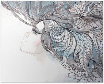 Plakát Vlasy zdobené listy