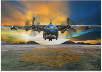 Plakát Vojenské letadlo přistání na letectvu přistávací dráhy proti krásné Düsseldorf