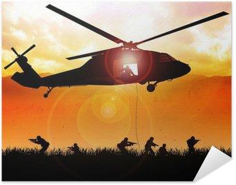 Plakát Vrtulník klesá vojska