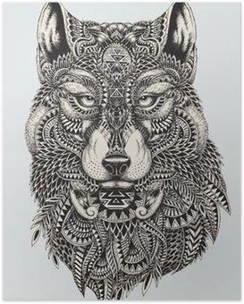 Plakát Vysoce detailní abstraktní vlk ilustrace