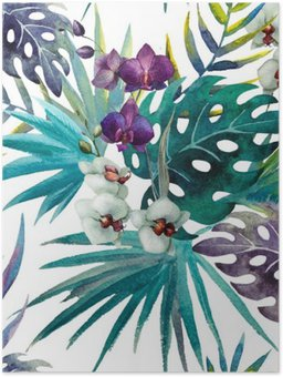 Plakát Vzor Orchid Hibiscus listy akvarel tropy