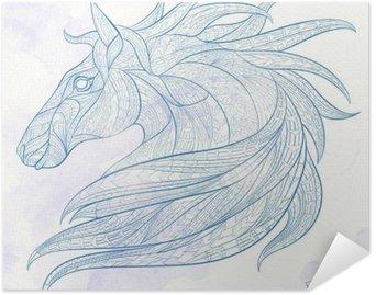 Plakát Vzorované Hlava koně na pozadí grunge. Africká / Ind / totem / tetování design. To může být použit pro návrh trička, tašky, pohlednice, plakát a tak dále.