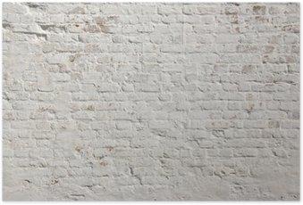 Plakát White grunge cihlová zeď na pozadí
