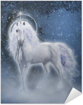Plakát White Unicorn 3D počítačová grafika