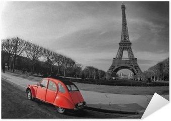 Plakat Wieża Eiffla i czerwony-paris samochód