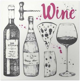 Plakát Wine set. Vinařské produkty v náčrtu stylu.