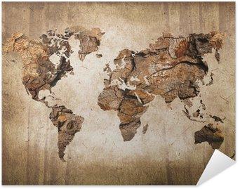 Plakát Wood mapa světa, vintage textury