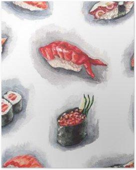 Plakat Wzór akwarela sushi