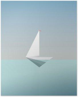 Plakát Yacht ikonu symbolu v moderním nízkém poly stylu. Letní dovolená nebo jezdit prázdniny pozadí. Obchodní metafora svobody a úspěchu.