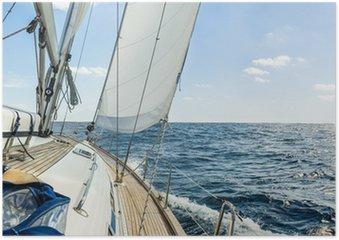 Plakát Yacht plují v Atlantském oceánu v slunečný den plavby