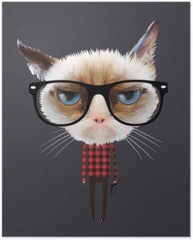 Plakat Zabawny kot kreskówki, wektor eps10 ilustracji.