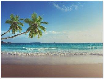 Plakát Západ slunce na pláži Seychely