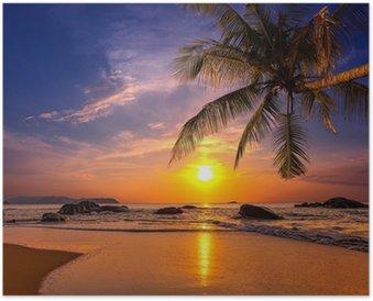 Plakát Západ slunce nad mořem. Provincie Khao Lak v Thajsku