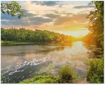 Plakát Západ slunce nad řekou v lese
