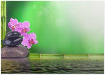 Plakát Zátiší z bambusu, orchideje a kameny