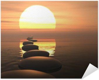 Plakát Zen cesta kamenů v západu slunce