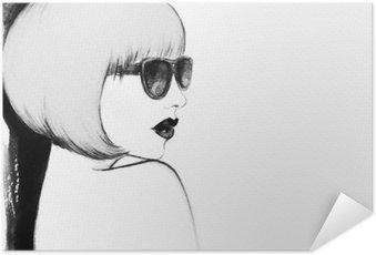 Plakát Žena s brýlemi. akvarel ilustrační