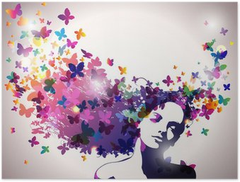 Plakát Žena s motýly ve vlasech.