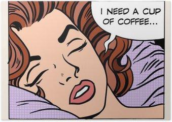 Plakát Žena sní ranní šálek kávy