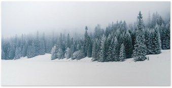 Plakát Zimní bílý les se sněhem, vánoční pozadí