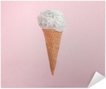 Plakát Zmrzlina kužel na růžovém pozadí