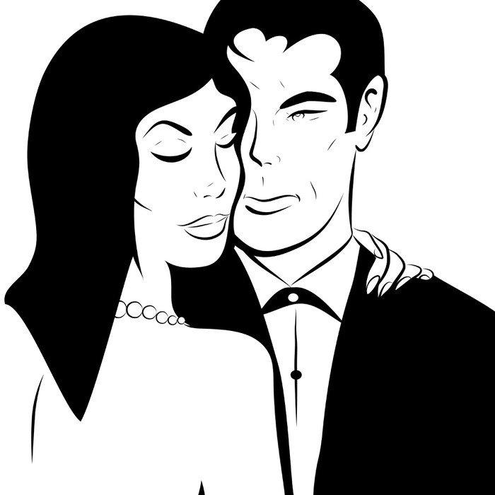 portrait couple romance en noir et blanc