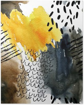 Poster Abstract Aquarell nahtlose Muster in Herbstfarben.