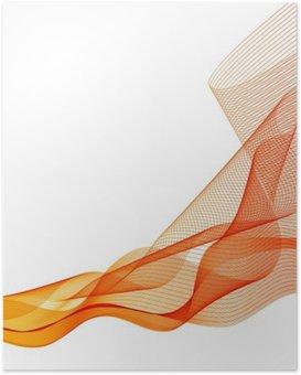Poster Abstract vettore arancione ondata di sfondo agitò le linee