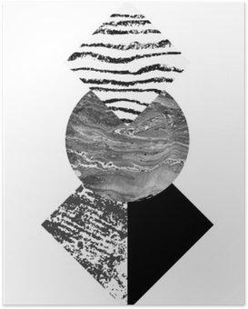 Poster Abstrakte Geometrie formt mit Aquarell und Grunge Texturen