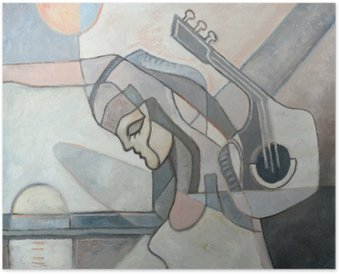 Poster Abstrakte Malerei mit Frau und Gitarre