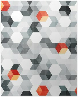 Poster Abstrakte Würfel nahtlose Muster mit Grunge-Effekt