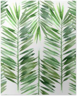 Poster Acquarello foglia di palma senza soluzione di continuità