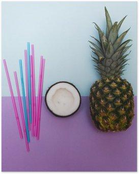 Poster Ananas und die Hälfte der Kokosnuss für die Partei mit Strohhalmen in Pastell