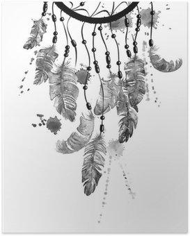 Poster Aquarell-Illustration mit Traumfänger