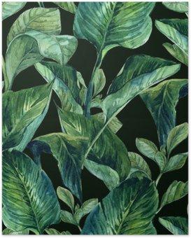 Poster Aquarell Nahtlose Hintergrund mit tropischen Blättern