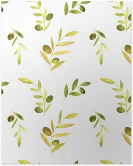 Poster Aquarell nahtlose Muster mit Oliven, Blättern und Zweigen